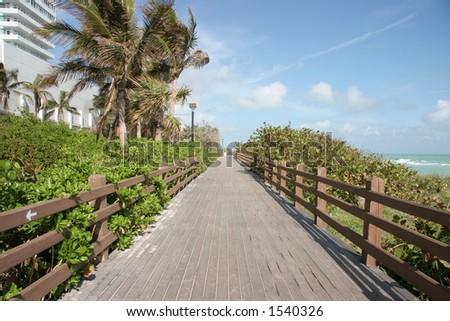 Walkway by Miami Beach - stock photo