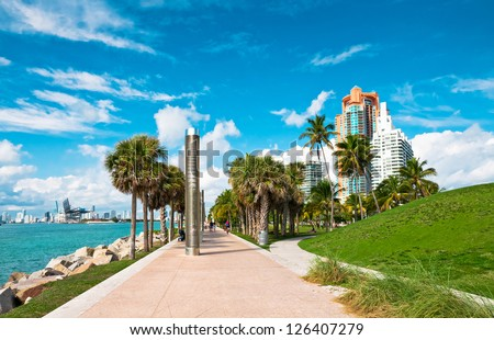 Walkway in a the beautiful park South Pointe in Miami Beach, Florida - stock photo