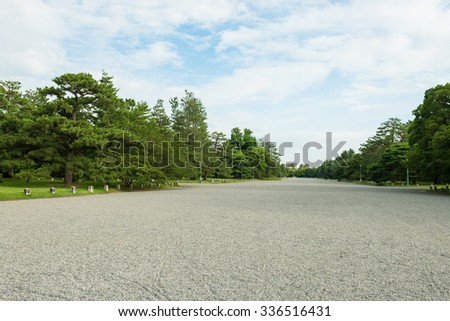 Walkway in Kyoto gosho imperial palace park. - stock photo