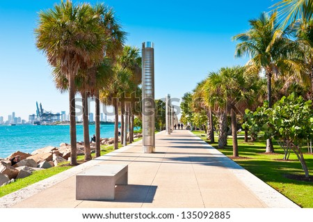 Walkway in park South Pointe in Miami Beach, Florida