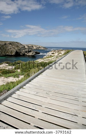 Walkway next to the ocean on summer day