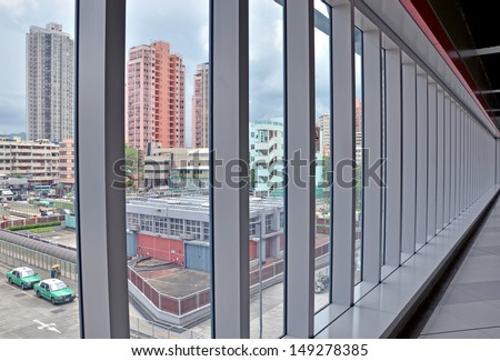 walkway of the glass wall  - stock photo