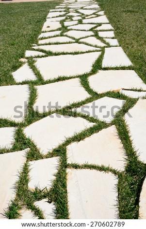 walkway stones/walkway stones in a green grass just cut - stock photo
