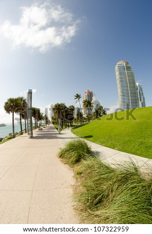 Walkway through modern buildings on a beautiful park and nature, Miami