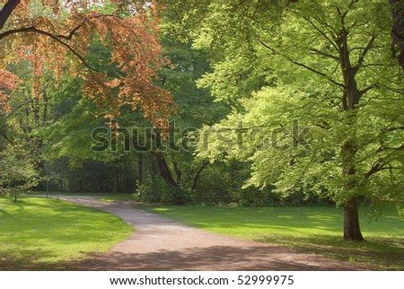 Walkway Through Spring Scenery on a Sunny Day - stock photo