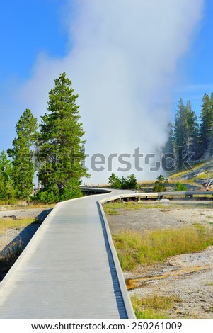 walkway through the Upper Geyser basin of Yellowstone National Park, Wyoming - stock photo