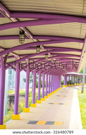 walkway to the building - stock photo