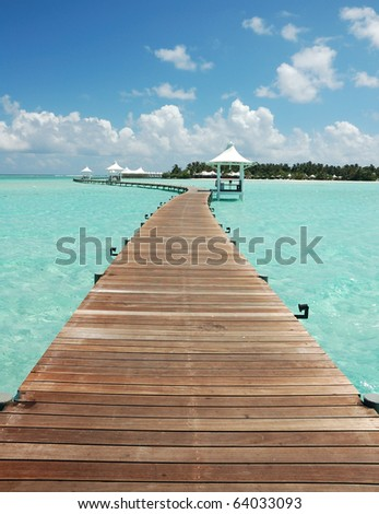Walkway to tropical island - stock photo