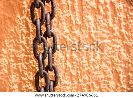 Wall and chain - stock photo
