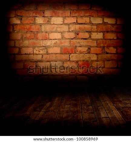 Wall and Floor Background - old room with a brick wall and floor - stock photo
