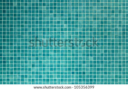 wall and floor mosaic tiles in azure blue - stock photo