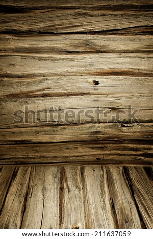 wall and floor siding weathered old wood background - stock photo