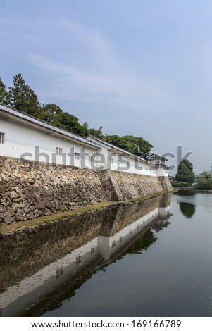 Wall and Moat at Hikone Castle in Japan