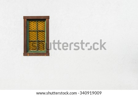 wall and window,old white brick wall texture for background. - stock photo