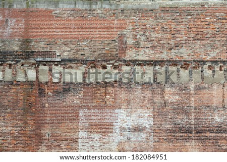 wall background texture of old brick buildings - stock photo
