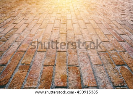 Wall background vintage old brick wall with sunlight effect - stock photo