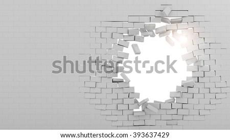 Wall broken through - stock photo