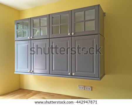 wall cabinet in new house - stock photo