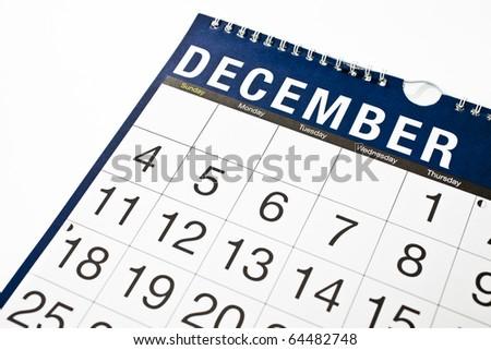 Wall Calendar December - stock photo