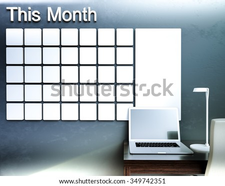 Wall calendar. Schedule memo management organizer concept. 3d rendering interior - stock photo