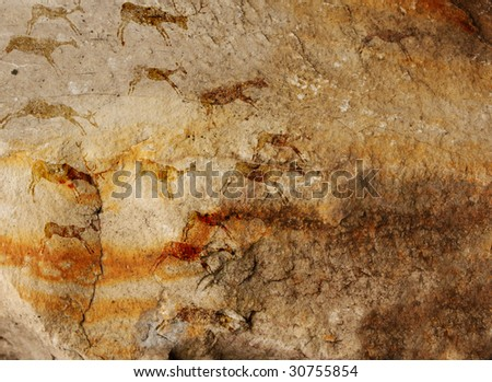 Wall cave with drawings of the primitive person - collage - stock photo