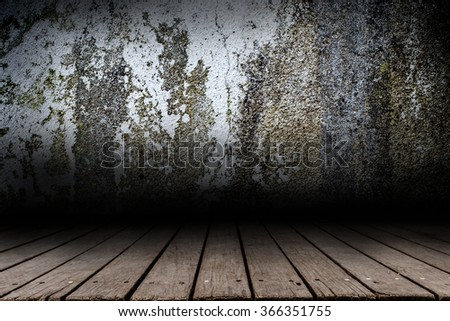 Wall Cement and wood paneled floor backdrop design - stock photo