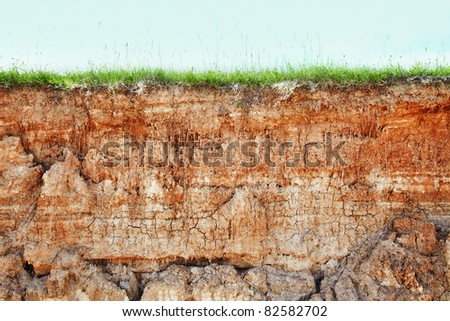 Wall cliff - clay brown soil and grass - stock photo