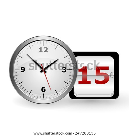 wall clock and a calendar with the date on a white background - stock photo