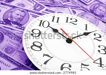 wall clock and dollars, concept of time is money