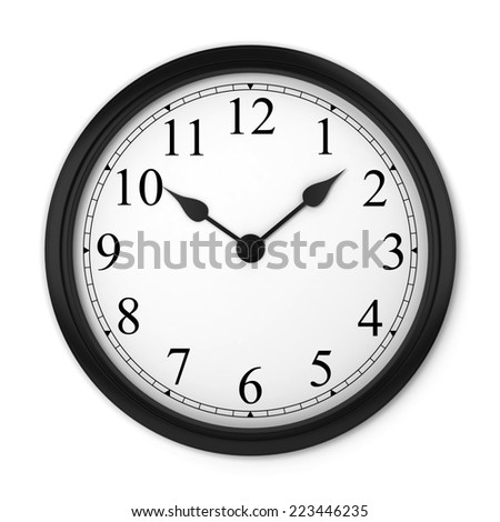 Wall clock. 3d illustration isolated on white background  - stock photo
