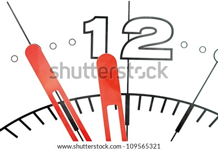 Wall clock dial isolated on white background showing time - stock photo