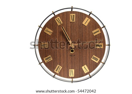 wall clock face isolated on white - stock photo