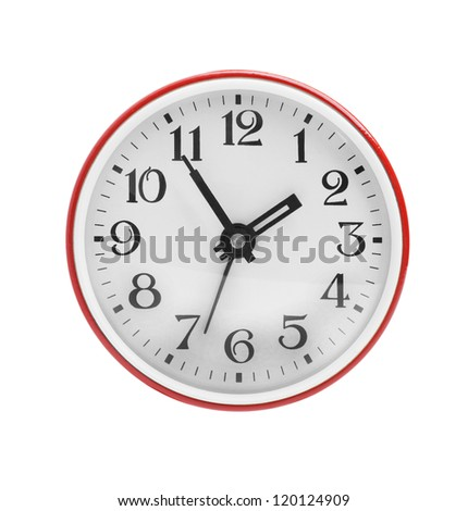 Wall clock in red on a white background - stock photo