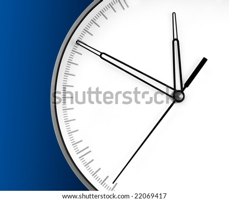 Wall Clock, isolated on blue background - stock photo