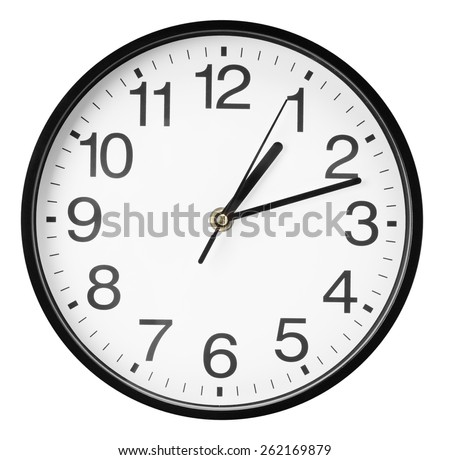 wall clock isolated on the white background - stock photo