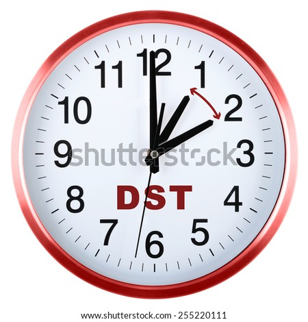 Wall clock isolated on white background. Daylight saving time - stock photo