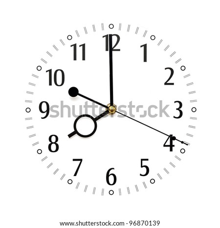 wall clock isolated on white background showing time - stock photo