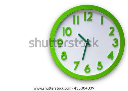 Wall clock isolated on white background, This has clipping path. - stock photo