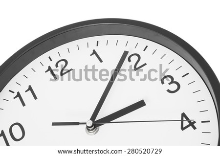 Wall clock isolated on white close up - stock photo