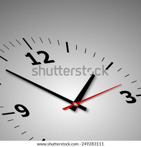 wall clock on a gray background with arrows and numbers - stock photo
