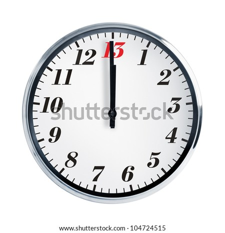 Wall clock on a white background show at noon - stock photo