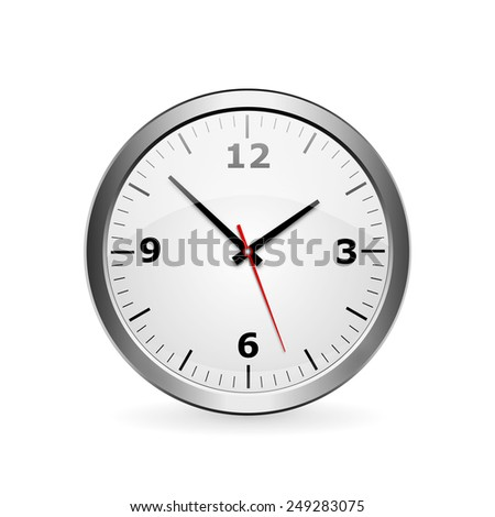 wall clock on a white background with hands and numerals - stock photo