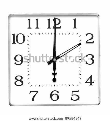 wall clock on white - stock photo