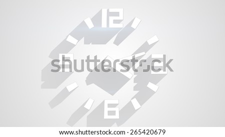 wall clock on white with long shadows - stock photo