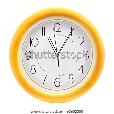 Wall clock over white - stock photo