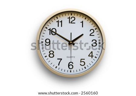 Wall clock over white background - stock photo