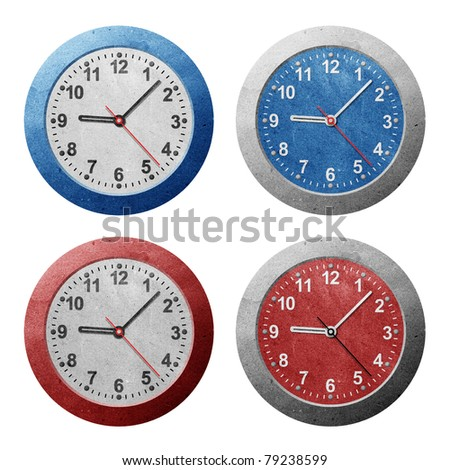 Wall clock recycled paper craft stick on white background - stock photo