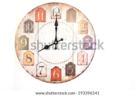 Wall clock ventage isolated on white - stock photo