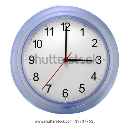 Wall clock with blue rim pointing at three o'clock against a white background. - stock photo