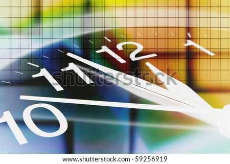 Wall Clock with Digital Background - stock photo